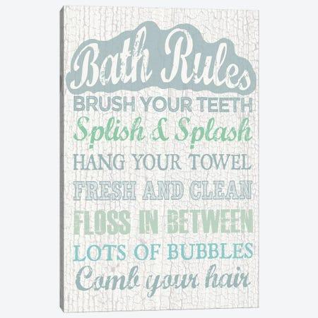 Bath Rules Canvas Print #ECK109} by Erin Clark Canvas Wall Art