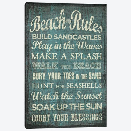 Beach Rules Canvas Print #ECK112} by Erin Clark Canvas Print