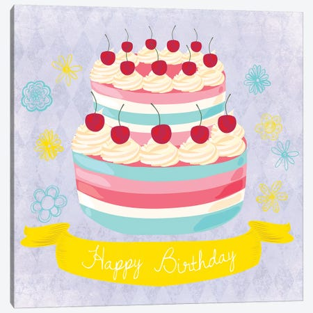 Birthday Cake Canvas Print #ECK131} by Erin Clark Art Print