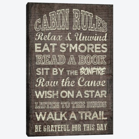 Cabin Rules Canvas Print #ECK145} by Erin Clark Canvas Print