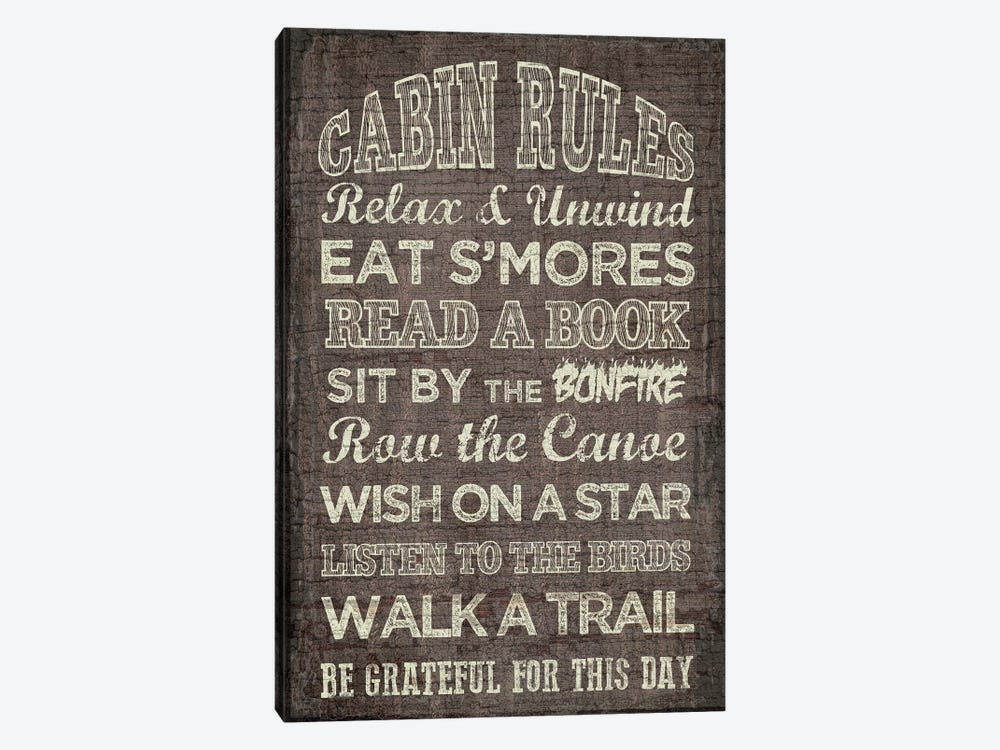 Cabin Rules by Erin Clark 1-piece Canvas Art Print