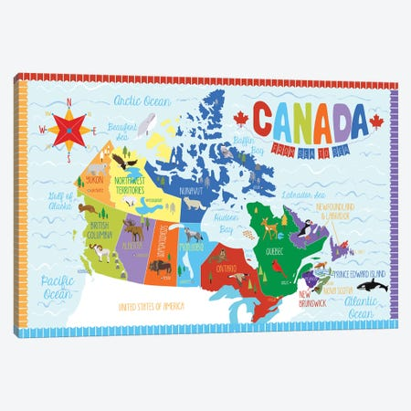 Canada Map Canvas Print #ECK146} by Erin Clark Canvas Art Print