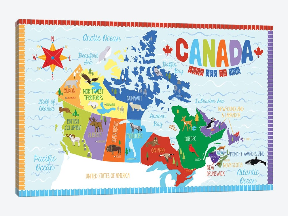 Canada Map by Erin Clark 1-piece Canvas Art