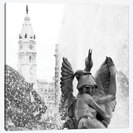 City Hall Fountain in Black & White Canvas Print #ECK156} by Erin Clark Canvas Wall Art