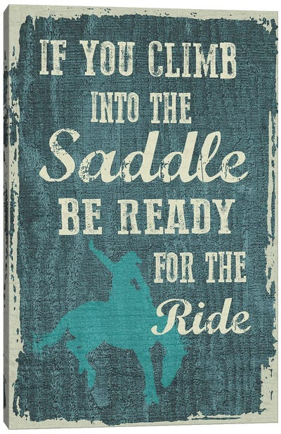 Climb In The Saddle Canvas Art Print