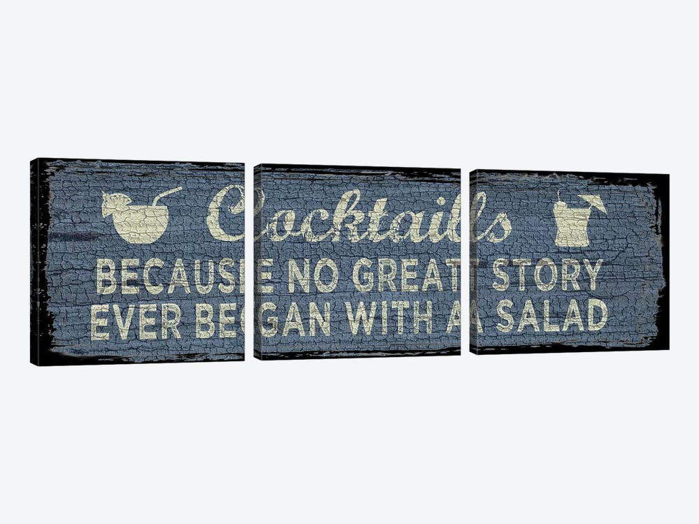 Cocktail Sign I by Erin Clark 3-piece Canvas Wall Art