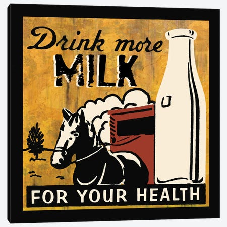 Drink More Milk Canvas Print #ECK191} by Erin Clark Canvas Print