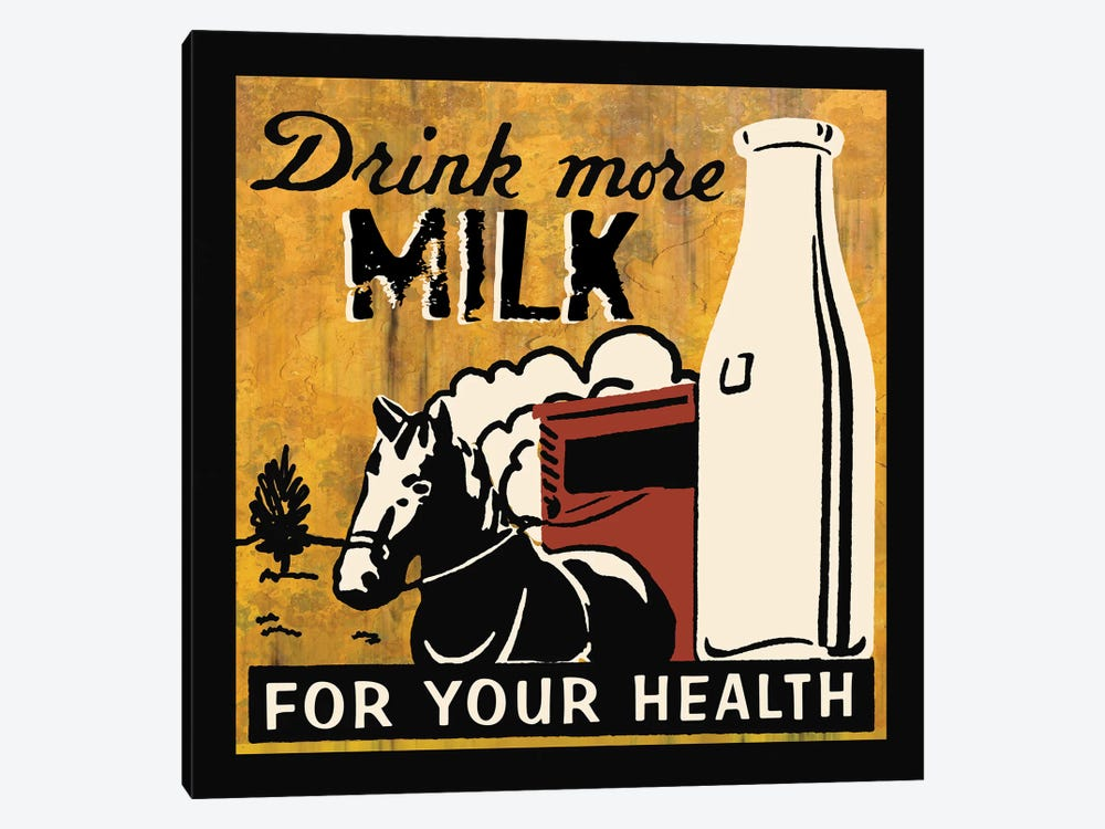 Drink More Milk by Erin Clark 1-piece Canvas Artwork