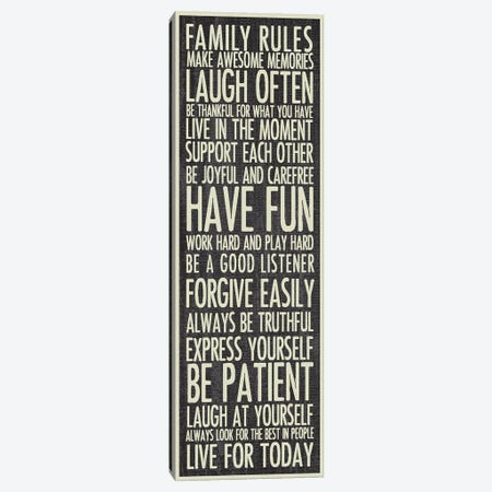 Family Rules Canvas Print #ECK214} by Erin Clark Canvas Art Print