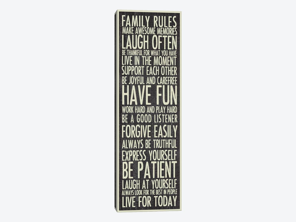 Family Rules by Erin Clark 1-piece Canvas Print