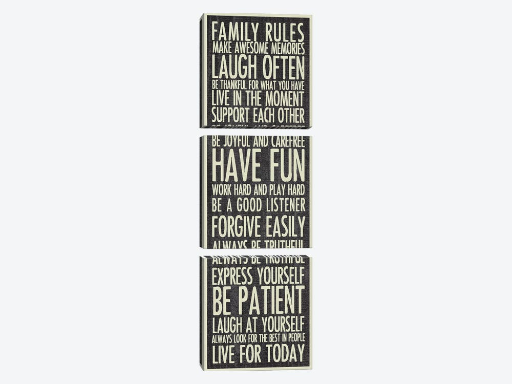Family Rules by Erin Clark 3-piece Art Print
