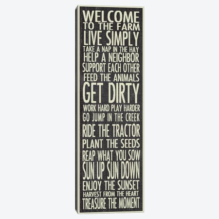 Farm Rules Canvas Print #ECK217} by Erin Clark Art Print