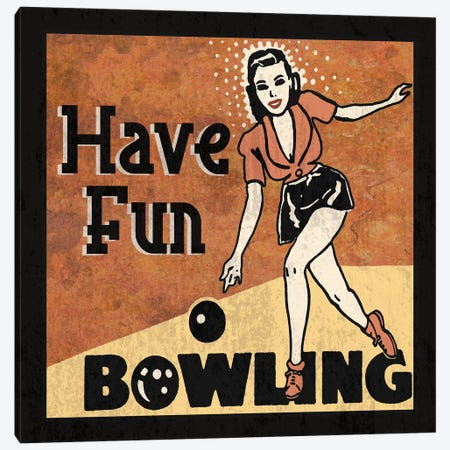 Have Fun Bowling Canvas Print #ECK261} by Erin Clark Canvas Print