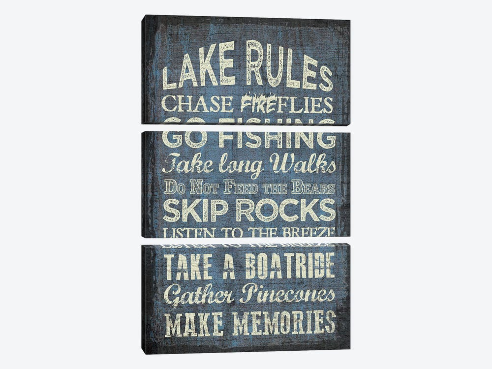 Lake Rules by Erin Clark 3-piece Canvas Print