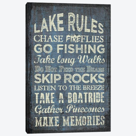 Lake Rules Canvas Print #ECK292} by Erin Clark Canvas Wall Art