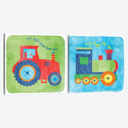 Tractor & Train Diptych Canvas Print Set #ECK2HSET002} by Erin Clark Canvas Art Print