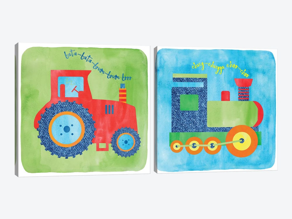 Tractor & Train Diptych by Erin Clark 2-piece Art Print