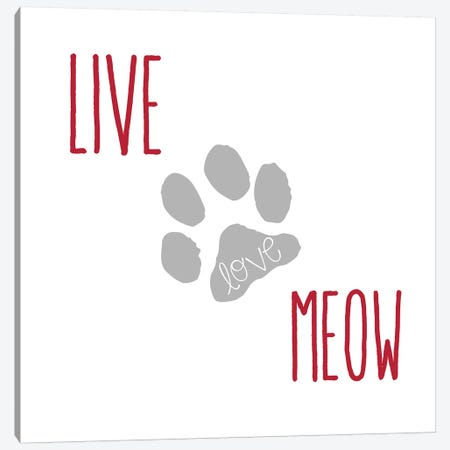 Live Love Meow II Canvas Print #ECK307} by Erin Clark Canvas Print