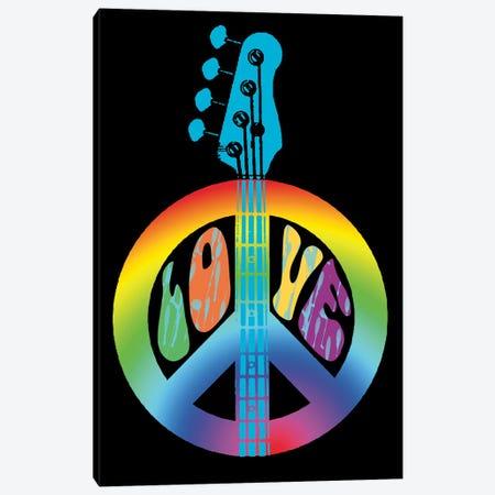 Peace Love Bass Guitar 3-Piece Canvas #ECK347} by Erin Clark Art Print