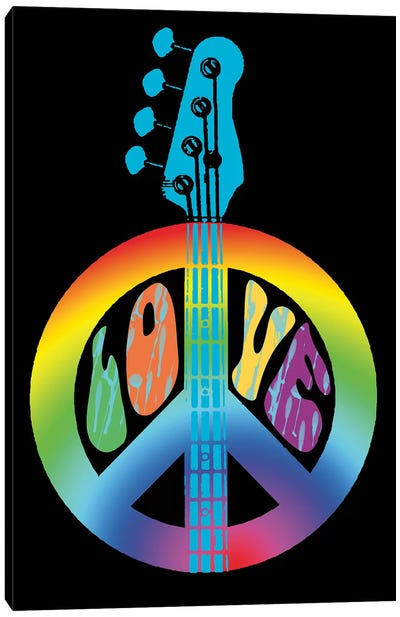 Peace Love Bass Guitar Canvas Art Print