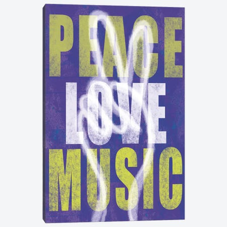 Peace Love Music Canvas Print #ECK348} by Erin Clark Canvas Artwork