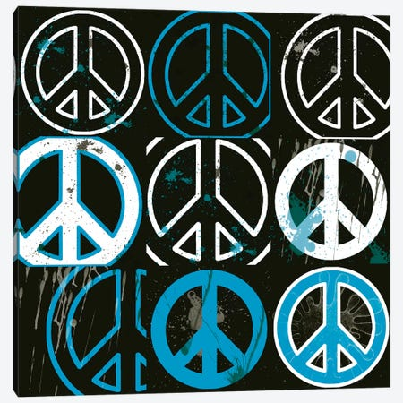 Peace Mantra Blue Canvas Print #ECK349} by Erin Clark Canvas Artwork