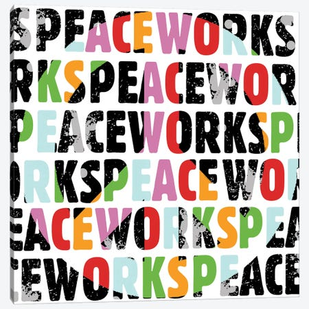 Peace Works White Canvas Print #ECK354} by Erin Clark Canvas Art
