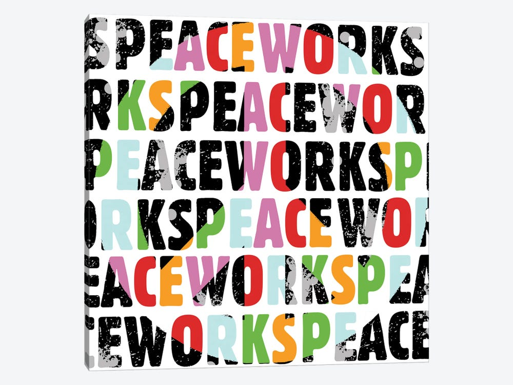 Peace Works White by Erin Clark 1-piece Canvas Art