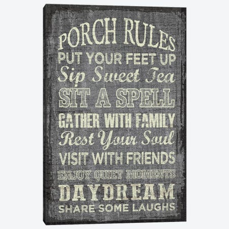Porch Rules Canvas Print #ECK365} by Erin Clark Canvas Print