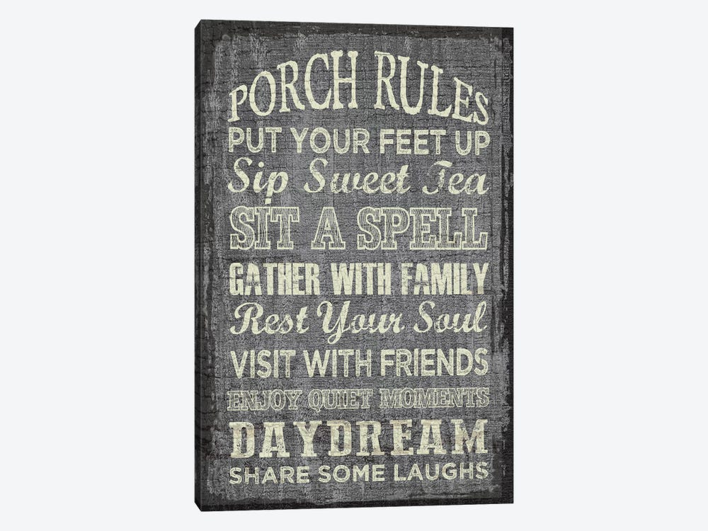 Porch Rules by Erin Clark 1-piece Canvas Wall Art