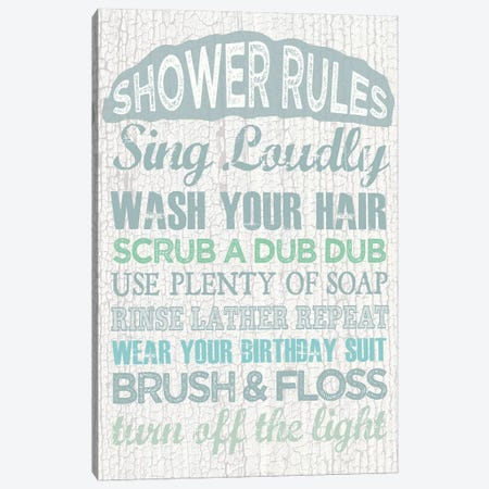 Shower Rules Canvas Print #ECK395} by Erin Clark Canvas Artwork