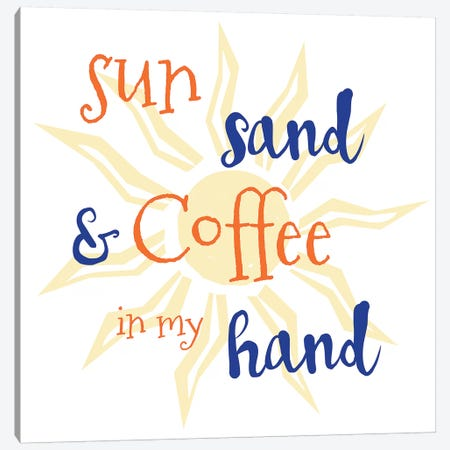 Sun, Sand & Coffee Canvas Print #ECK413} by Erin Clark Canvas Art