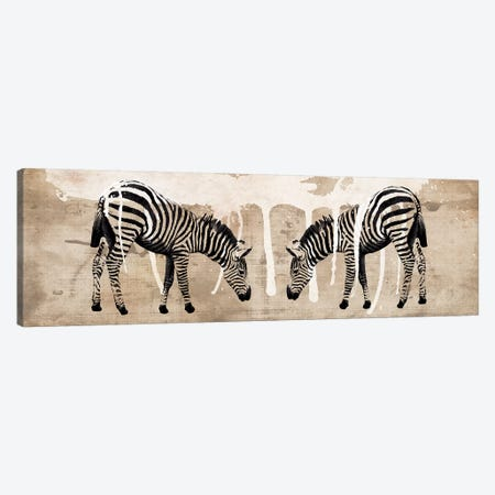Two Zebras Canvas Print #ECK438} by Erin Clark Canvas Artwork