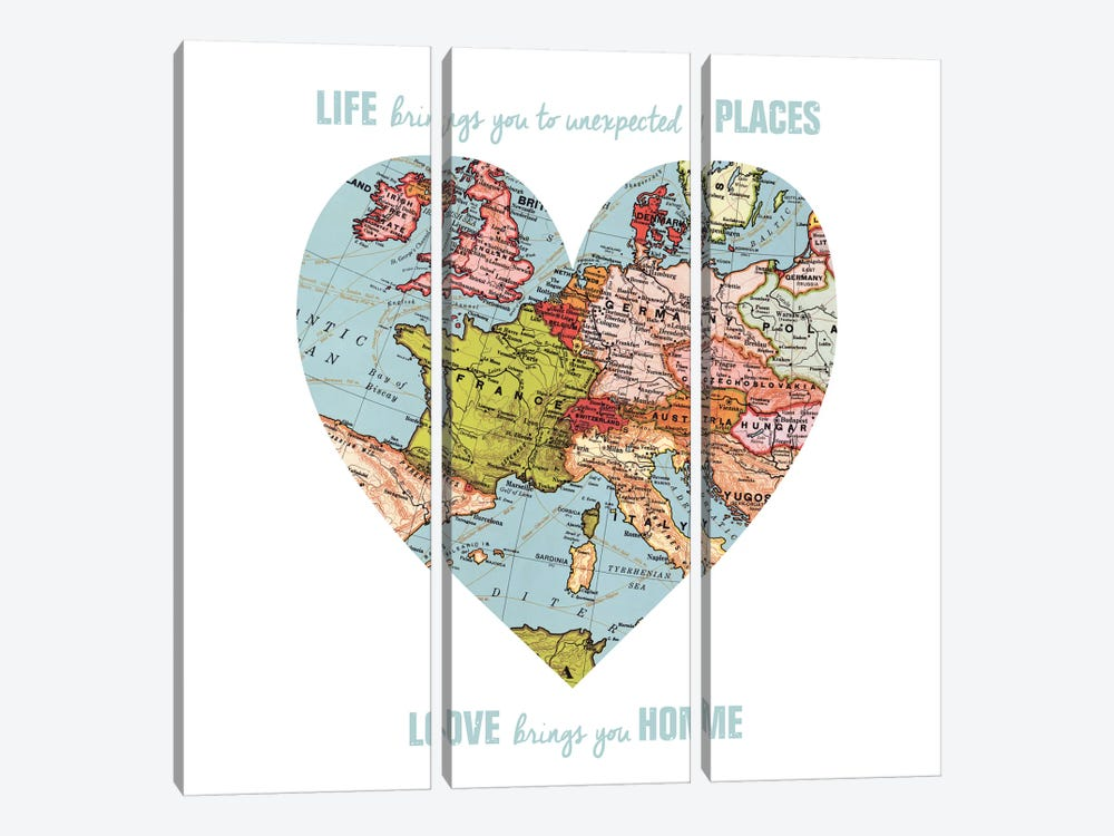 Love Map by Erin Clark 3-piece Canvas Wall Art
