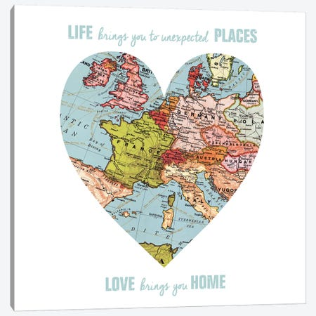 Love Map Canvas Print #ECK70} by Erin Clark Art Print