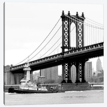 Manhattan Bridge With Tug Boat in B&W Canvas Print #ECK73} by Erin Clark Canvas Print