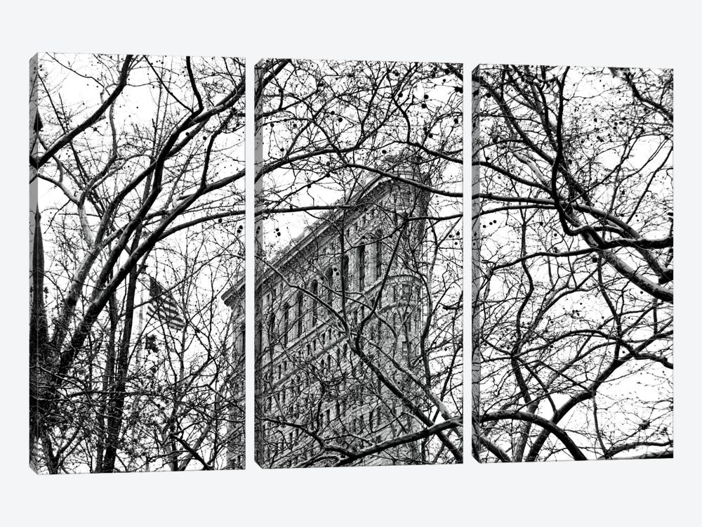 Veiled Flatiron Building in B&W by Erin Clark 3-piece Canvas Print