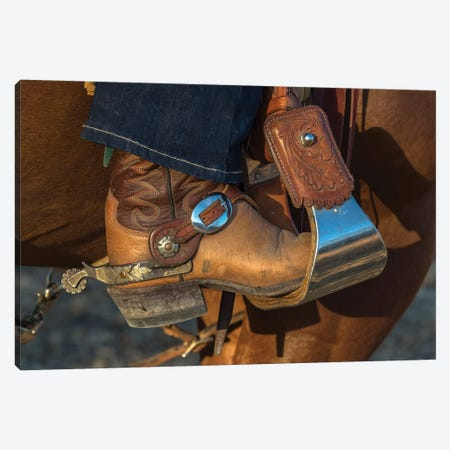 USA, California, Parkfield, V6 Ranch cowgirl boot in stirrup  Canvas Print #ECL1} by Ellen Clark Canvas Artwork