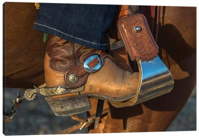 USA, California, Parkfield, V6 Ranch cowgirl boot in stirrup  Canvas Art Print