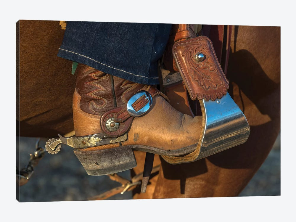 USA, California, Parkfield, V6 Ranch cowgirl boot in stirrup  by Ellen Clark 1-piece Canvas Wall Art