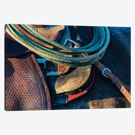 USA, California, Parkfield, V6 Ranch detail of a saddle and lasso Canvas Print #ECL3} by Ellen Clark Canvas Artwork