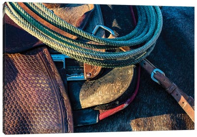 USA, California, Parkfield, V6 Ranch detail of a saddle and lasso Canvas Art Print