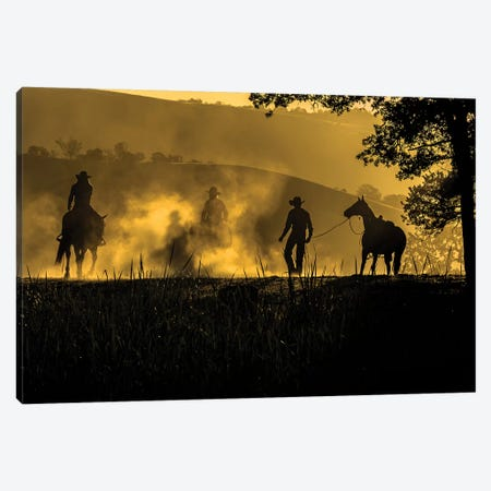 USA, California, Parkfield, V6 Ranch silhouette of riders, on horseback. Early dusty morning.  Canvas Print #ECL4} by Ellen Clark Canvas Print