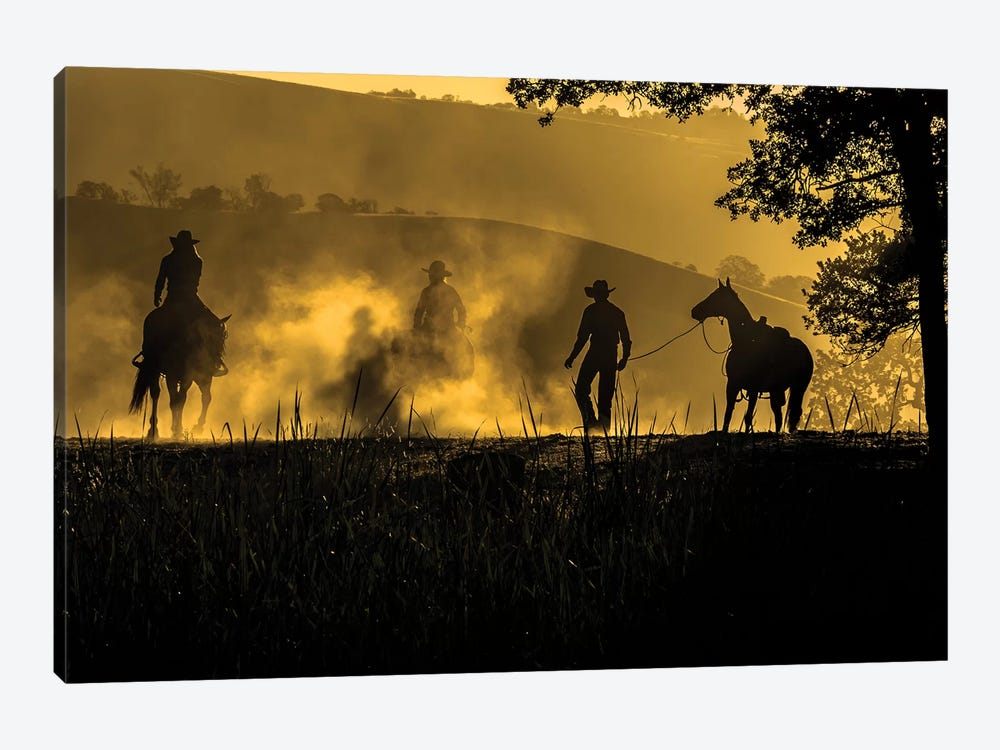 USA, California, Parkfield, V6 Ranch silhouette of riders, on horseback. Early dusty morning.  by Ellen Clark 1-piece Canvas Art Print