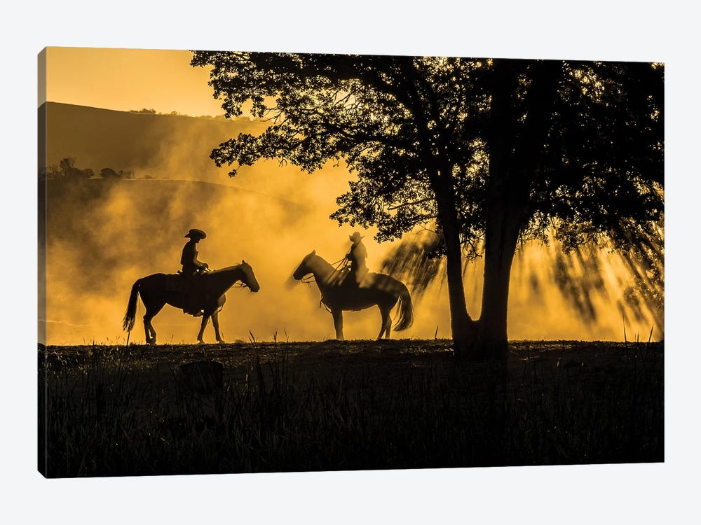 USA, California, Parkfield, V6 Ranch silhouette of two riders on horseback. Early dusty morning.  by Ellen Clark 1-piece Canvas Wall Art
