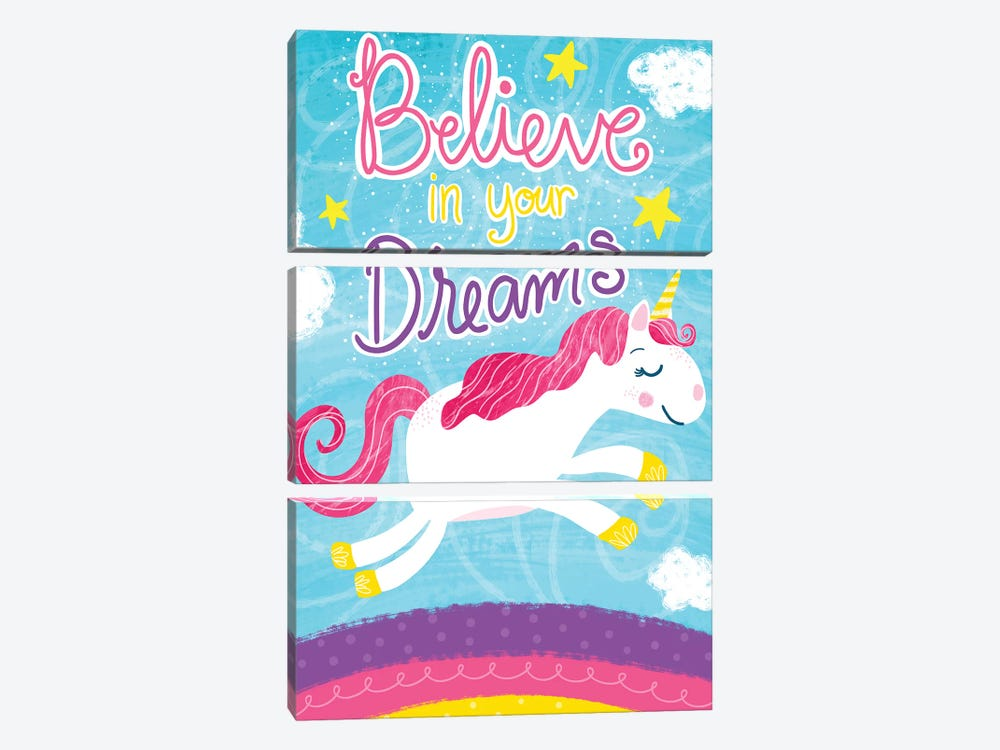 Unicorn Dreams by Emily Cromwell 3-piece Canvas Print