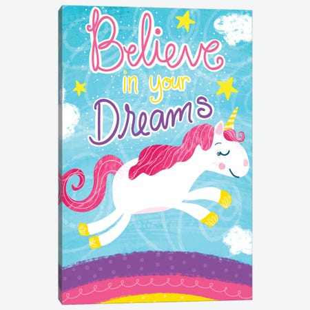 Unicorn Dreams Canvas Print #ECR2} by Emily Cromwell Canvas Art Print
