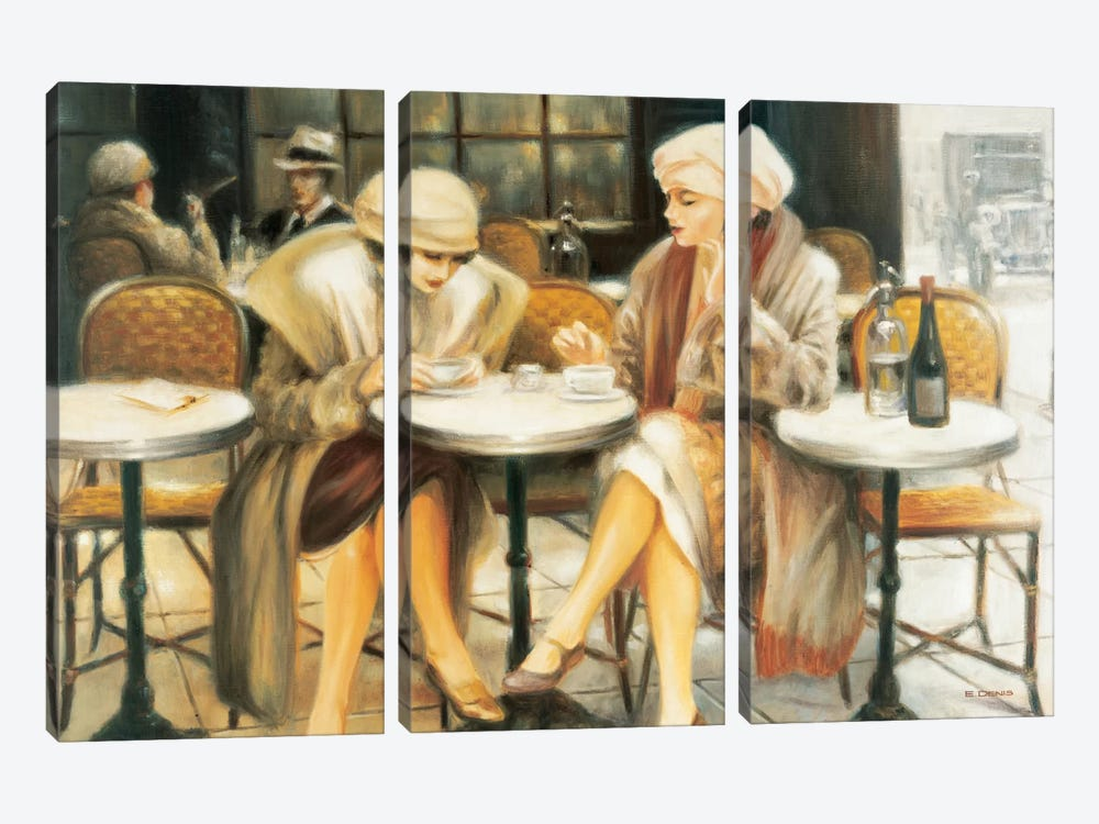 Cafe III by E Denis 3-piece Canvas Art