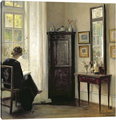 Interior with Woman Reading Canvas Art Print