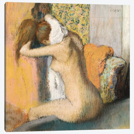 After The Bath Canvas Print #EDG1} by Edgar Degas Canvas Wall Art